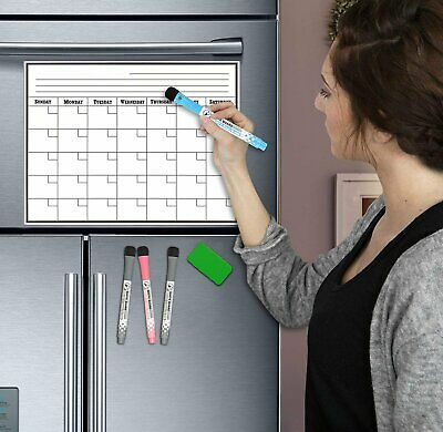 17 x 11 Monthly Weekly Planner Magnetic Refrigerator Calendar With 4 Markers