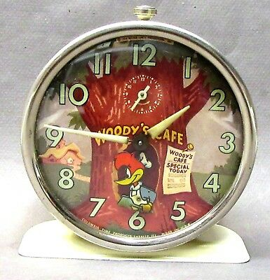1950's WOODY WOODPECKER Woody Cafe animated Columbia Time alarm clock working *