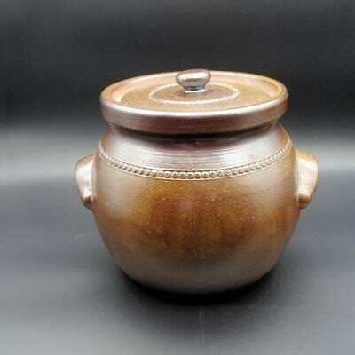 VINTAGE 1980's BENDIGO POTTERY -Lidded 3.6 litre Crock Bread Pot - Phillip Kiley