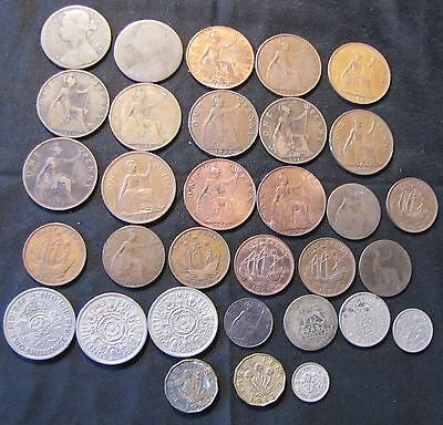 Lot of 32 Great Britain Coins with 1922 Silver Shilling
