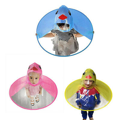 Cute Cartoon Duck Children Raincoat Umbrella Ufo Shape Rain Hat Cape Foldable Au