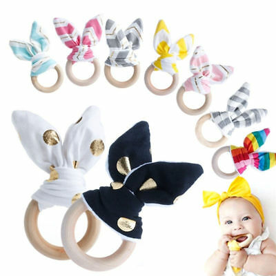 Natural Lovely Baby Teething Ring Wooden Bunny Ear Sensory Toy Chewie Teether