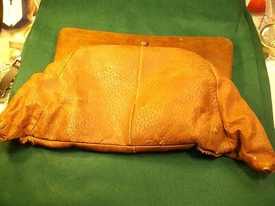 "Rare & Unusual Vtg Antique Large Oak Wood (Frame) & Leather ""Purse"" Satchel?"