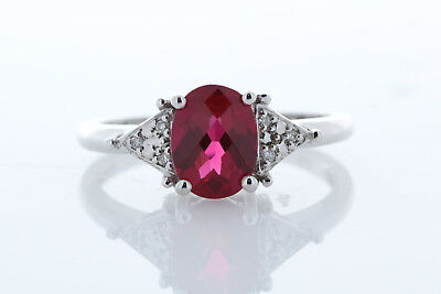 Bague Rubis Diamant & Synthétique Rubis or Blanc 9 Carats