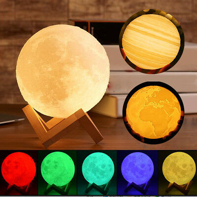 20cm 3D Print Moon/Jupiter/Earth Lamp LED Night Lunar Light Touch Color Changing