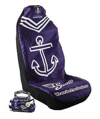 OFFICIAL AFL CAR SEAT COVER x 1- FREMANTLE - FITS 1 BUCKET SEAT