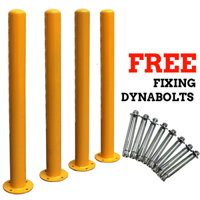 1200mm 110 OD/mm Parking Bollards Steel Bollard Posts Surface Mounted w/Dynabolt