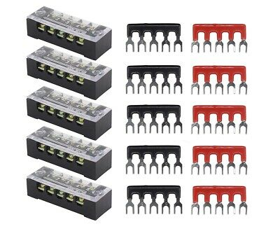5pc Dual Row 5 Position Screw Terminal Electric Barrier Strip Block 600V 15A