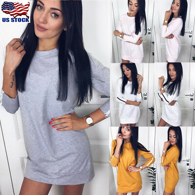 Women's Long Sleeve Pullover Long Tops Blouse Loose Casual T Shirt Mini Dress US