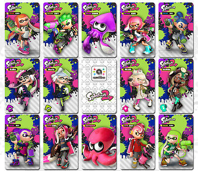 16PCS NFC Tag Game Cards Splatoon 2 Octoling Octopus for Switch Wii U w/ Case