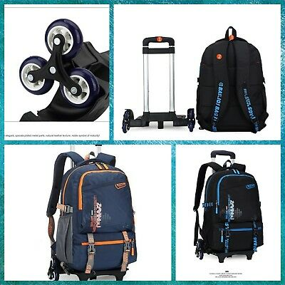 bcf4844be9 School Backpack Trolley With 6 Wheels For Boys Girls Elementary Dark  Blue Orange