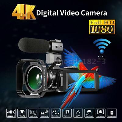 Andoer WiFi 4K UHD 24MP 30X ZOOM Digital Video Camera Camcorder DV Recorder DVR