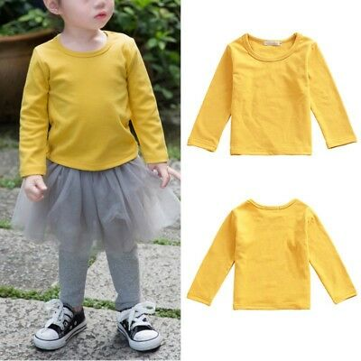 Baby Boys Girls Long Sleeve Cotton T-shirt Toddler Kids Solid Color Blouse Tops