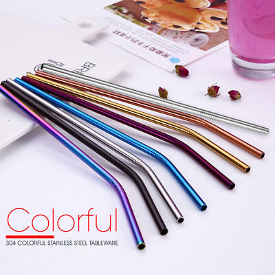 4-8PCS Stainless Steel Straws + Brush Drinking Straw Bent Reusable Washable Food