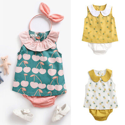 Toddler Infant Baby Kids Girls Pineapple Tops Shirt+ Pants Outfits Clothes Set