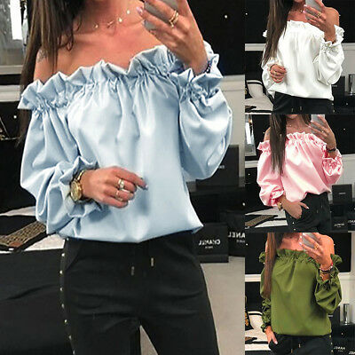 US Women Fashion Off Shoulder Butterfly Solid Long Sleeve Blouse Loose Shirt Top