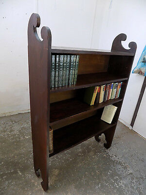 freestanding,edwardian,large,mahogany,open front,adjustable,bookcase,antique