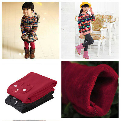 Kids Girls Winter Warm Thermal Pants Cotton Full Length Leggings Trousers 2-7Y