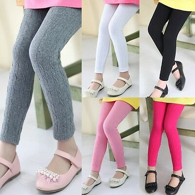 Kids Girls Cable Knit Leggings Pants Stretch Full Length Plain Trousers 3-11Y