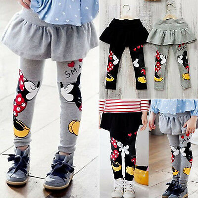 Girls Kids Mickey Minnie Mouse Dress Pantskirt Pants Leggings Skirt Trouser 2-6Y