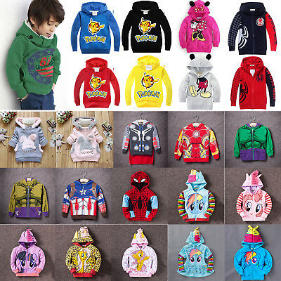 Kids Boys Girls Cartoon Hoodies Sweatshirt Toddler Jumper Coat Jacket Tops 1-10Y