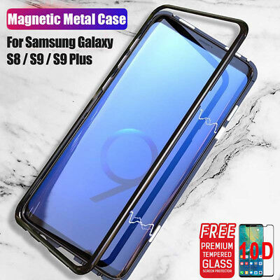 Magnetic Absorption Metal Tempered Glass Back Case For Samsung S8+ S9 Note 9 8