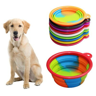 Pet Dog Cat Food Water Collapsible Silicone Bowl Dish Feeding Travel Feeder 1PC