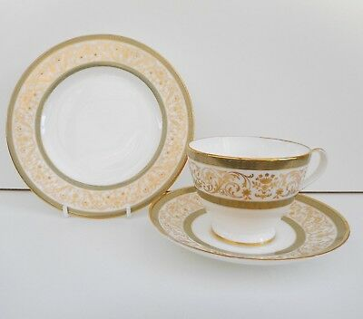 Minton Aragon bone china cup saucer & plate trio - white, green & gold