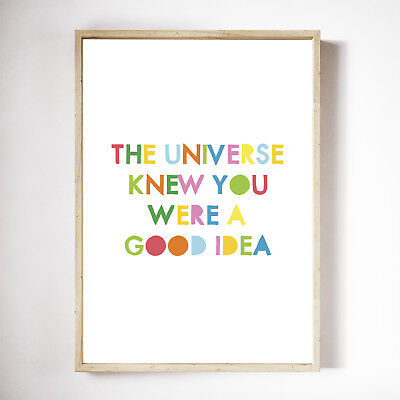 The Universe Knows You Poster Print, Children's Bedroom Wall Art Inspirational