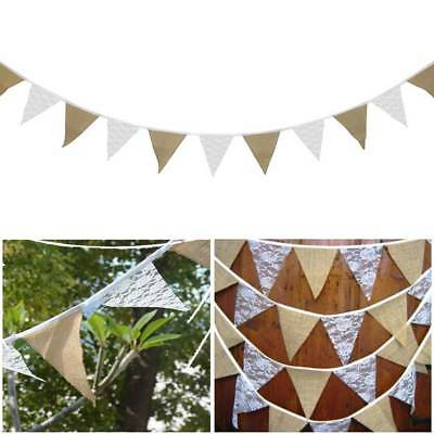 Hessian Wedding Birthday Lace Fabric Bunting Banner Vintage Flags Party Decor