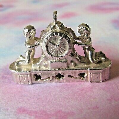 Vintage Silver Nuvo Mantle Clock With Cherubs Charm