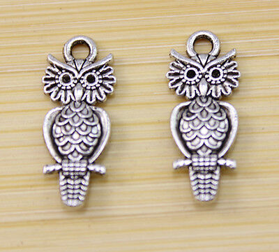 30/100/300 pcs Very lovely propitious  Tibet silver owl charm pendant 21x7 mm