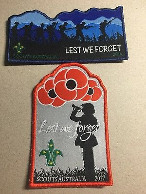 Scouts Australia - Set of Lest We Forget - Anzac Day Badges from 2016 & 2017