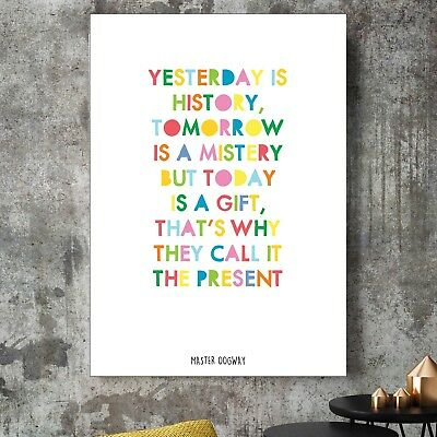 Kung-Fu Panda Master Oogway Yesterday Is History Quote Poster Print Kids Decor