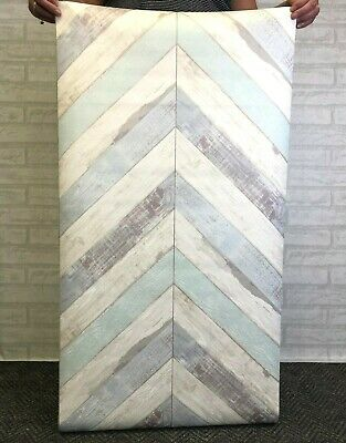 Shabby Chic Wood  Vintage Wallpaper Worn Distressed Country French Zig Zag Retro