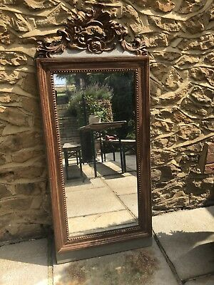 19th century French giltwood framed Antique mirror mercury plate glass foxing