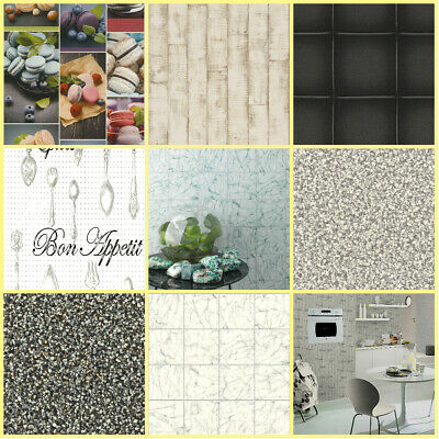 Kitchen & Bathroom Wallpaper | Tile Effect Wood Effect | Washable Wallpaper