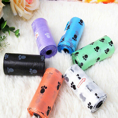 1Roll/15PCS Pet Dog Waste Poop Bag Printing Degradable  Clean-up Dispenser -