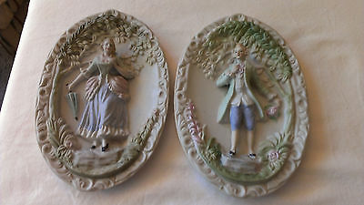 Two Vintage Chase Colonial Hand Painted Wall Plaques..occupied Japan  Mint!