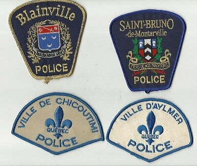 Chicoutimi / Aylmer / St-Bruno / Blainville (QUEBEC) Police Patches