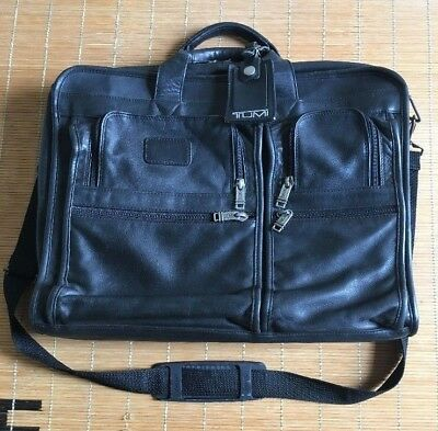 f57d2f74a9b3 TUMI ALPHA Organizer Laptop Nappa Black Leather Briefcase Messenger ...