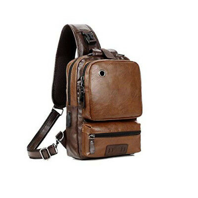 Men Leather Backpack Anti-theft USB Charge Cross Body Large Capacity Travel Bag