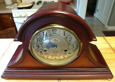 Vintage-Mantle Clock- 31day-Wind-Up-Mahogany-Wood- D&A-Korea