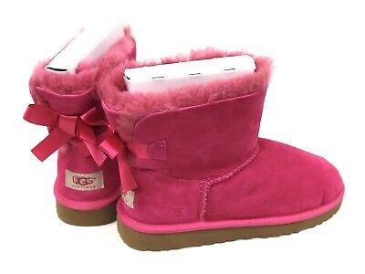 2e96e91e327 UGG AUSTRALIA KIDS MINI BAILEY BOW Cerise Pink 1005497 Youth Sheepskin Boots