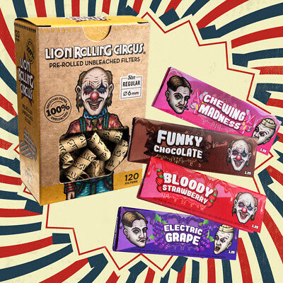 5 ct Bundle Lion Rolling Circus Trendy Flavored Rolling Paper + 120 Pre Roll Fil