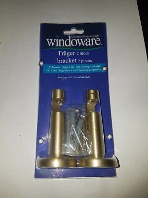 "2x Gardinenstangen Träger ""Windoware"" Design 16 mm Stange MESSING Kappe Uvp80€"