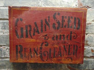 Vintage Grain Seed and Bean Cleaner ~ Advertising Sign ~ Ships Free