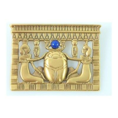 Matte Gold Finish Egyptian Revival Lapis Lazuli Scarab Pectoral Brooch Pin 1.6""
