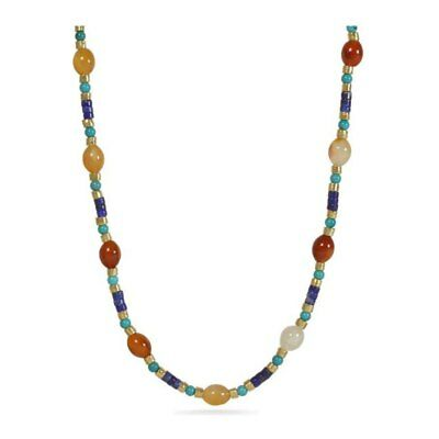 Egyptian Cleopatra Orange Yellow Natural Agate Blue Turquoise Lapis Necklace 18""