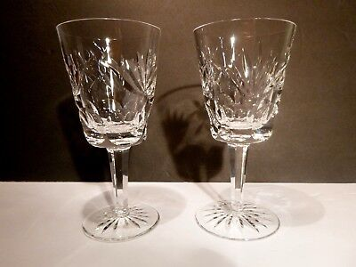 """*VINTAGE* Waterford Crystal ASHLING (1954-) 2 Water Goblets 6 7/8"""" Made IRELAND"""